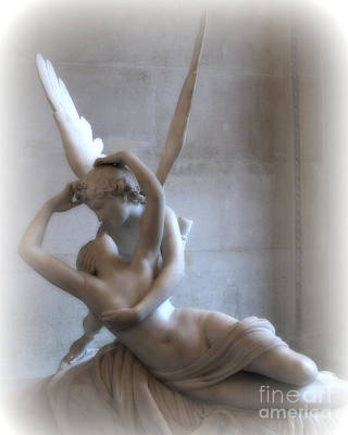 Paris Eros And Psyche Angels Louvre Museum - Paris Angel Art - Paris Romantic Eros And Psyche Art  Art Print