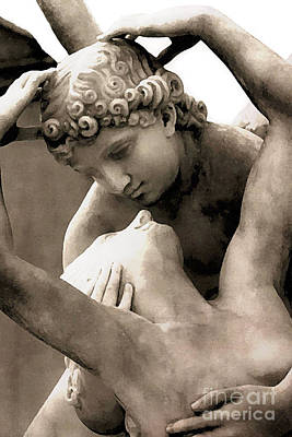 Photograph - Paris Eros And Psyche Angels Lovers Sculpture Statue by Kathy Fornal