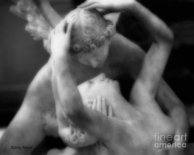 Paris Eros And Psyche Sculpture - Dreamy Paris Eros And Psyche Angels Romantic Lovers Angel Statue Art Print by Kathy Fornal