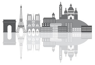 Paris Skyline Royalty-Free and Rights-Managed Images - Paris France City Skyline Grayscale Illustration by Jit Lim