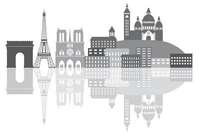 Mannequin Dresses - Paris France City Skyline Grayscale Illustration by Jit Lim