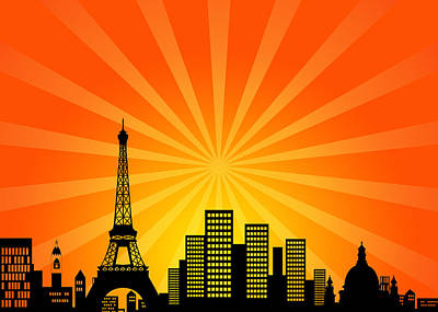 Paris Skyline Royalty-Free and Rights-Managed Images - Paris France Downtown City Skyline by Jit Lim
