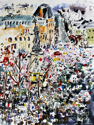 Liberty Painting - Paris France January 11th 2015 by Ginette Callaway
