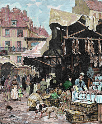 Group Of Women Talking Photograph - Paris, France Market Colored Engraving by Prisma Archivo
