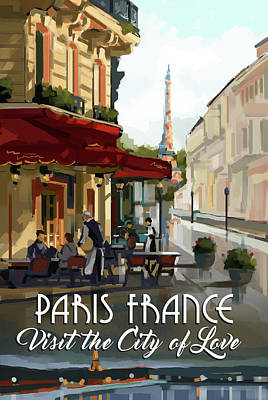 Signed Poster Painting - Paris, France by P.s