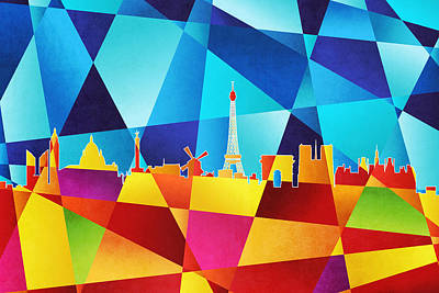 Abstract Skyline Digital Art - Paris France Skyline by Michael Tompsett