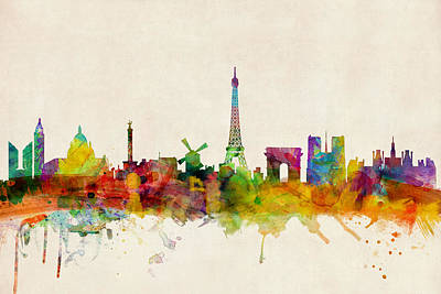 Urban Watercolor Digital Art - Paris France Skyline Panoramic by Michael Tompsett