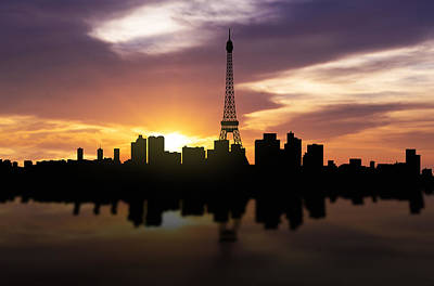 Paris France Sunset Skyline  Art Print by Aged Pixel
