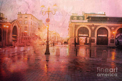 Versailles France Surreal Rainy Night Street Scene - French Script Textured Print Print by Kathy Fornal
