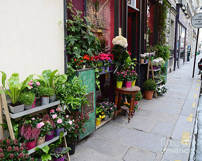 Flowers Shop Photograph - Paris French Flower Market Shop - Paris French Market Sidewalk Flower Shop by Kathy Fornal