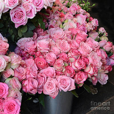 Flowers Shop Photograph - Paris French Market Pink Roses - Paris Romantic Pink Shabby Chic Roses  by Kathy Fornal