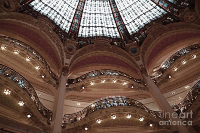Stained Glass Windows Photograph - Paris Galeries Lafayette Stained Glass Ceiling Dome - Paris Architecture Glass Ceiling Dome Balcony by Kathy Fornal