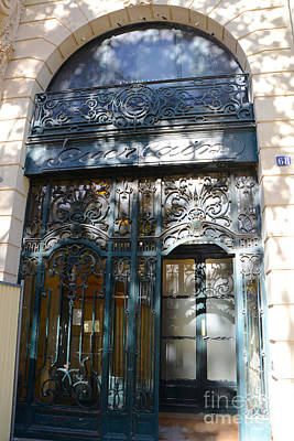 Paris In Blue Fine Art Photograph - Paris Guerlain Storefront Boutique - Paris Guerlain Blue Door Art Nouveau Art Deco Door by Kathy Fornal