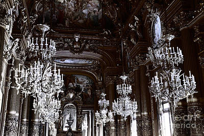 Paris Hall Of Chandeliers Blue And Black Art Deco - Paris Opera House Opulent Sparkling Chandeliers Art Print by Kathy Fornal