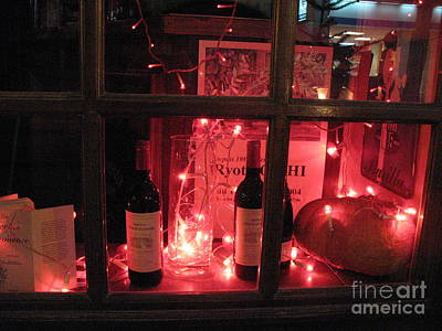 Paris Holiday Christmas Wine Window Display - Paris Red Holiday Wine Bottles Window Display  Art Print by Kathy Fornal