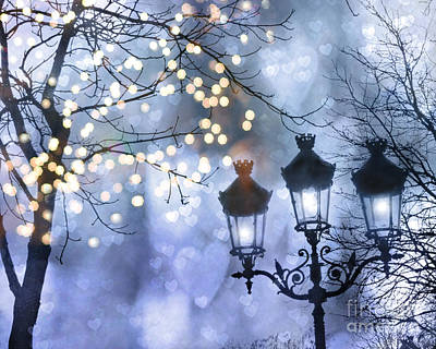 Photograph - Paris Holiday Magical Sparkling Twinkling Lights - Paris Sparkling Street Lanterns by Kathy Fornal