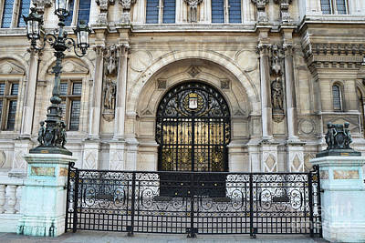 Photograph - Paris Hotel De Ville Architecture Door  - Hotel Deville Art Deco Art Nouveau by Kathy Fornal