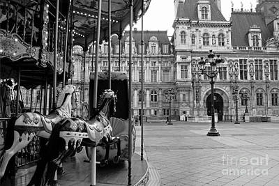 Paris Hotel Deville Black And White Photography - Paris Carousel Merry Go Round At Hotel Deville  Art Print