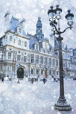 Paris Hotel Deville Winter Blue Snow Scene - Paris Winter Snow Landscape Print by Kathy Fornal