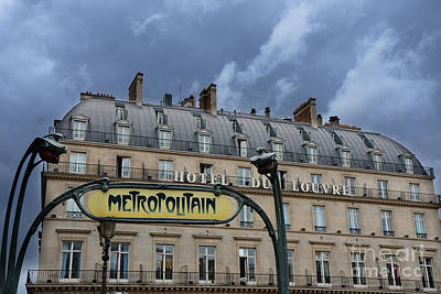 Paris In Blue Fine Art Photograph - Paris Metropolitain Sign At The Paris Hotel Du Louvre Metropolitain Sign Art Noueveau Art Deco by Kathy Fornal