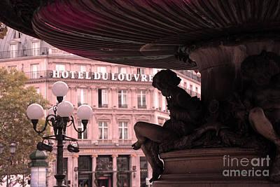 Cherub Photograph - Paris Hotel Du Louvre - Cherub Fountain Place Andre Malraux - Paris Architecture by Kathy Fornal