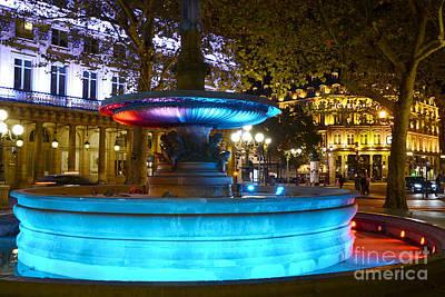 Paris Hotel Du Louvre - Lights And Fountain Place Andre Malraux - Paris Night Photography Art Print