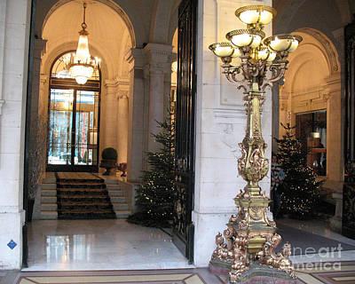 Paris Hotel Lanterns- Paris Hotel Architecture Interior Chandelier Lanterns - Paris Holiday Decor Art Print by Kathy Fornal