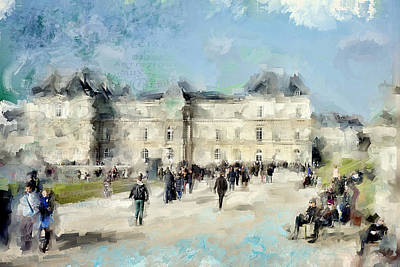 Paris Skyline Royalty-Free and Rights-Managed Images - Paris in Autumn Luxembourg Gardens by Evie Carrier