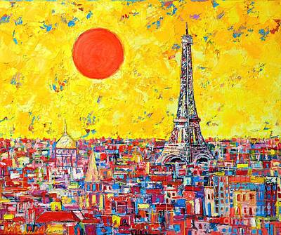 Blue And Red Painting - Paris In Sunlight by Ana Maria Edulescu