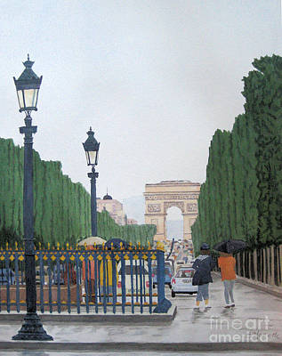 Champs Elysees Painting - Paris In The Rain by Diane Marcotte