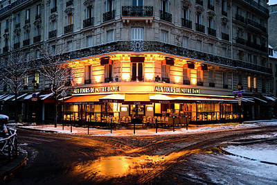 Photograph - Paris In White - Cafe Glowing In The by Berthold Trenkel