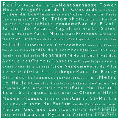 Louvre Digital Art - Paris In Words Algae by Sabine Jacobs