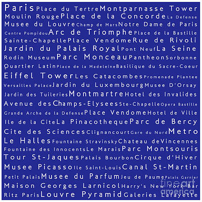 Louvre Digital Art - Paris In Words Blue by Sabine Jacobs