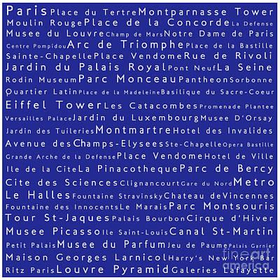 Louvre Digital Art - Paris In Words Blue by Sabine Jacobs