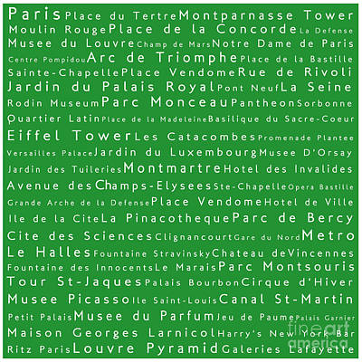 Louvre Digital Art - Paris In Words Green by Sabine Jacobs