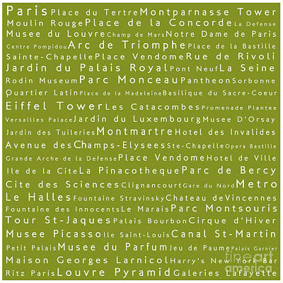 Louvre Digital Art - Paris In Words Olive by Sabine Jacobs