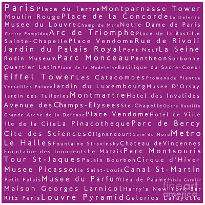 Louvre Digital Art - Paris In Words Pink by Sabine Jacobs