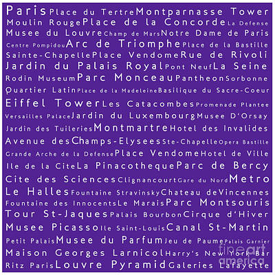 Louvre Digital Art - Paris In Words Purple by Sabine Jacobs