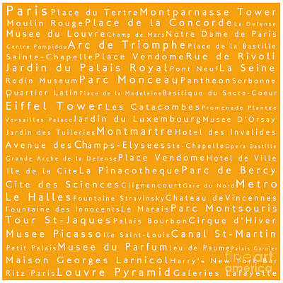 Louvre Digital Art - Paris In Words by Sabine Jacobs