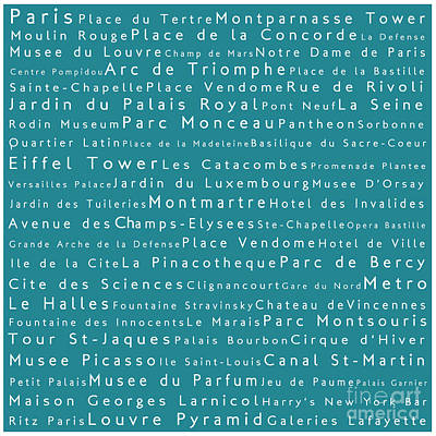 Louvre Digital Art - Paris In Words Teal by Sabine Jacobs