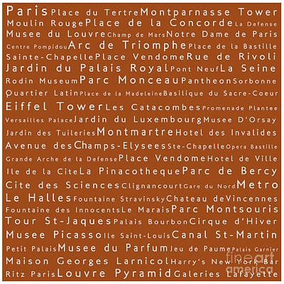 Louvre Digital Art - Paris In Words Toffee by Sabine Jacobs