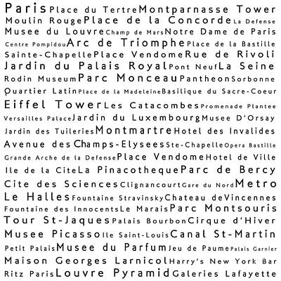 Louvre Digital Art - Paris In Words White by Sabine Jacobs