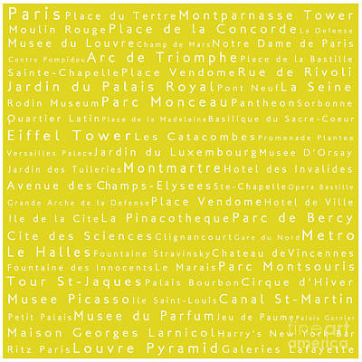 Typography Digital Art - Paris In Words Yellow by Sabine Jacobs
