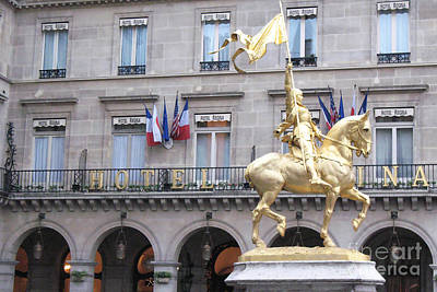 Paris Joan Of Arc Statue In Front Of Hotel Regina  - Joan Of Arc Monument Statue  Art Print by Kathy Fornal