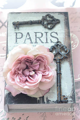 Paris French Key Art - Paris Romantic Pink Roses And Vintage Paris Keys - Paris Shabby Chic Key Art Art Print