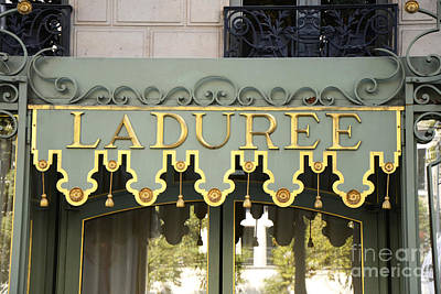 Photograph - Paris Laduree Door Photography - Laduree Macaron Shop Door Sign Architecture by Kathy Fornal