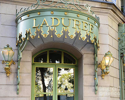 Paris Macaron Shop Photograph - Paris Laduree Door Sign - Romantic Paris Laduree Green And Gold Door Sign And Lamps by Kathy Fornal