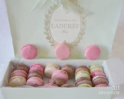 Bakery Photograph - Paris Laduree Pastel Macarons - Paris Laduree Box - Paris Dreamy Pink Macarons - Laduree Macarons by Kathy Fornal