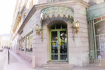 Paris Macaron Shop Photograph - Paris Laduree Patisserie Bakery Tea Shop - Paris Pink Pastel Laduree Architecture  by Kathy Fornal
