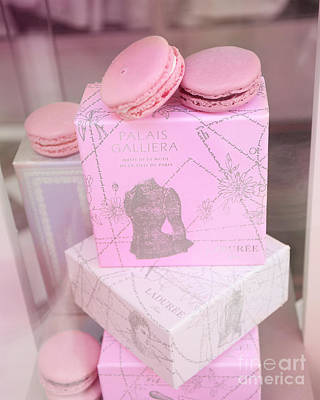 Paris Macaron Shop Photograph - Paris Laduree Pink Box - Paris Laduree Pink Macarons - Paris Laduree Pink Pastel Window Display  by Kathy Fornal